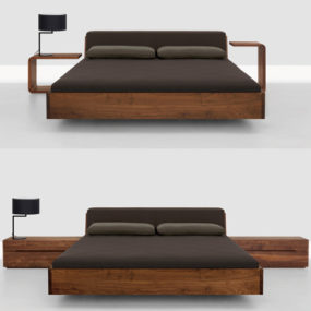 Solid Wood Beds – Fusion bed with upholstered headboard by Zeitraum