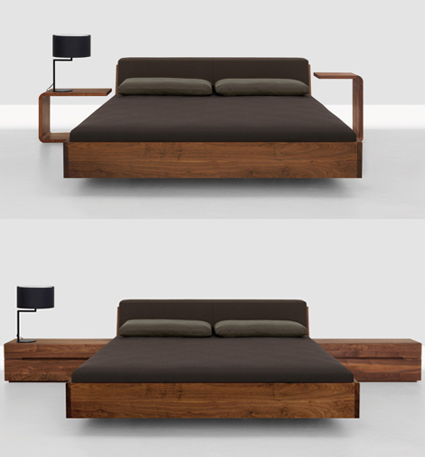 Solid Wood Beds Fusion Bed With Upholstered Headboard By Zeitraum