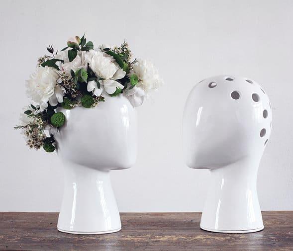 The Ceramic Wig Vase Is A Manikin Head Reinterpreted