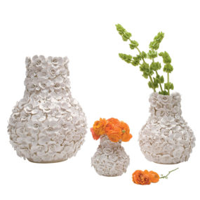 Whimsical Ceramic Vases and Bowls Adorned with 3d Blooms