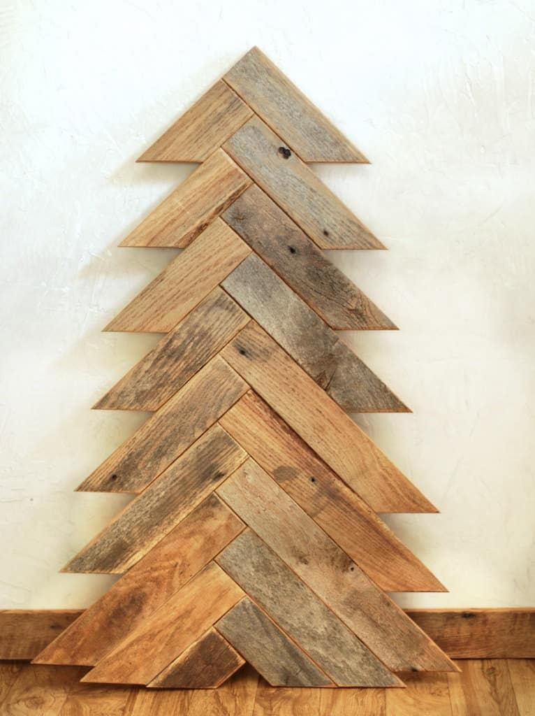 Wooden christmas trees with eco style