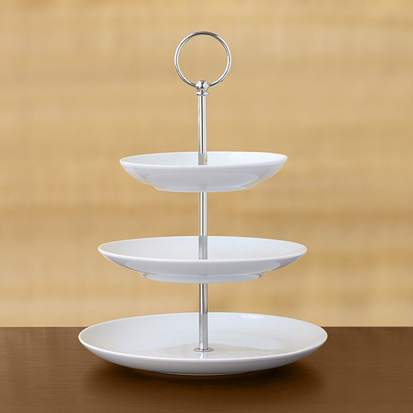 3 tier pastry stand great white pottery barn 1 3 Tier Pastry Stand   Great White dessert server by Pottery Barn