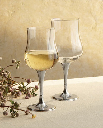 arte italica wine glasses tulipani 1 Pewter Wine Glasses from Arte Italica   Tulipani Glasses