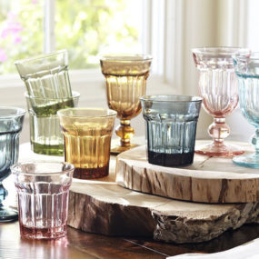 Colorful Cafe Glassware by Pottery Barn: retro style goblets and tumblers