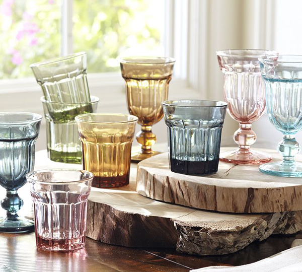 colorful cafe glassware by pottery barn 1 Colorful Cafe Glassware by Pottery Barn: retro style goblets and tumblers