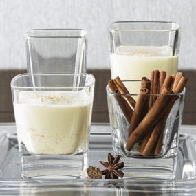 Eggnog Glasses and Recipe for Christmas