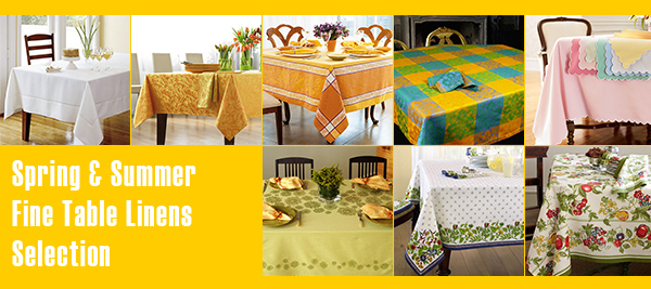 fine table linens trend Fine Table Linens for Summer   linen tablecloth selections by designer Lillian Pikus
