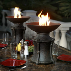 Fire Urns by Agio – outdoor dining centerpiece ideas
