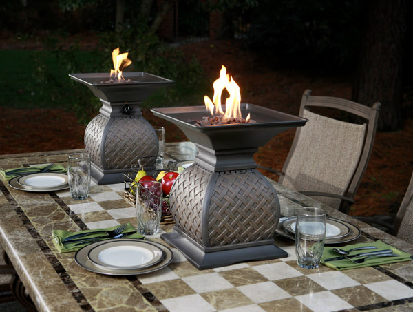 fire urns ideas agio Fire Urns by Agio   outdoor dining centerpiece ideas