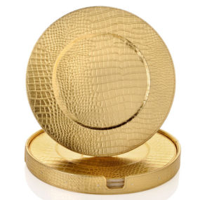 Gold Crocodile Charger Plates by Colin Cowie
