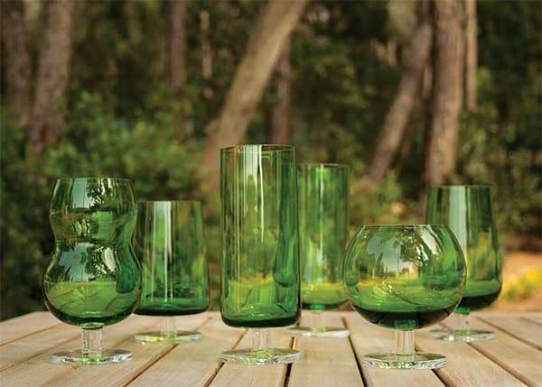 green drinkware glasses ilio glass forest 1 Green Drinkware Glasses by Ilio Glass   Forest