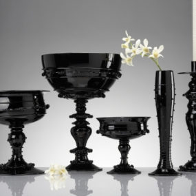 Black Glass Tableware & Centerpieces – gorgeous, glamorous collection by Juliska!