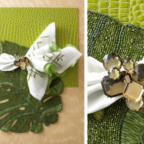 Kim Seybert Green & White Table Accessories and Dragonfly Napkin Rings