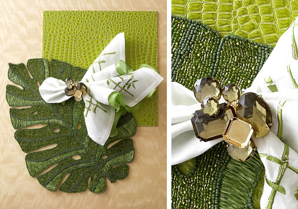 kim seybert green white table accessories Kim Seybert Green & White Table Accessories and Dragonfly Napkin Rings