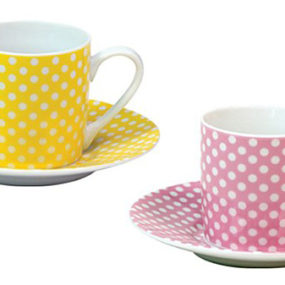 Polka Dot Espresso Cup by Konitz – dot pattern cups and saucers