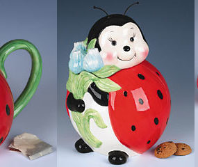 Ladybug Tableware: teapot, cookie jar, salt and pepper shakers