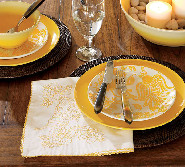 Lemon Toile Salad Plates from Pottery Barn – the new spring colors dinnerware