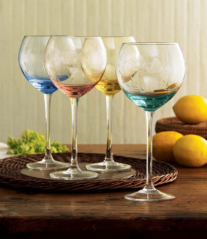 lenox butterfly meadow glassware collection Lenox Butterfly Meadow Glassware Set   Mixed Balloon Wine Glasses, set of 4