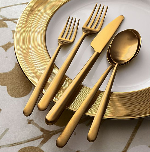 meret flatware crate and barrel Italian Gold Flatware   Meret Flatware from Crate & Barrel