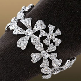 Swarovski Crystal Napkin Ring Set – Platinum and Gold Garland