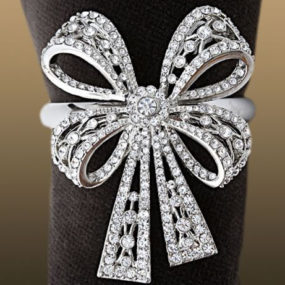 Swarovski Crystal Napkin Ring Set – L'Object Antique Platinum Bowtie Rings