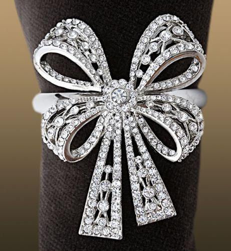 platinum swarovski crystals napkin ring Swarovski Crystal Napkin Ring Set   LObject Antique Platinum Bowtie Rings