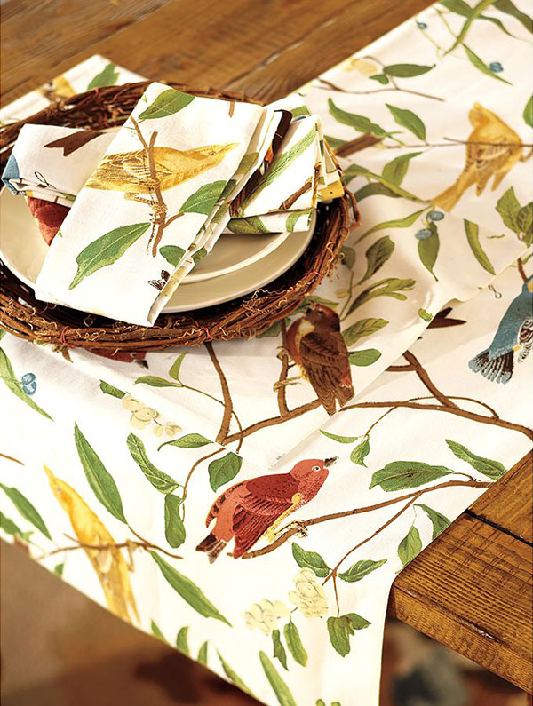 spring table setting ideas sparrow table runner pottery barn 3 Spring Table Setting Ideas   Bird Tablecloth and Bird Tableware