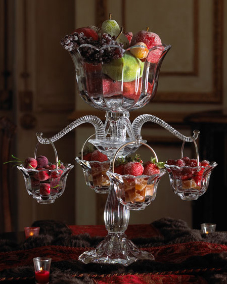 table centerpiece epergne Table Centerpiece Idea   Crystal Epergne at Horchow