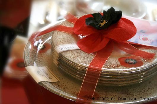torida glass rouge poppy dinnerware 7