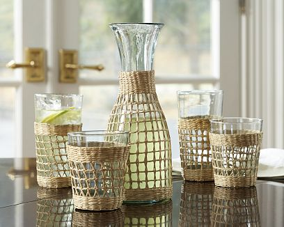 tropical wrapped glassware
