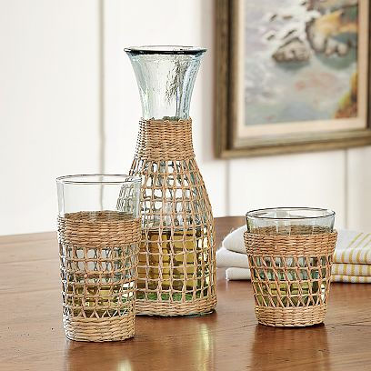 weave wrapped glassware Tropical Drink Glasses   Weave Wrapped Glassware