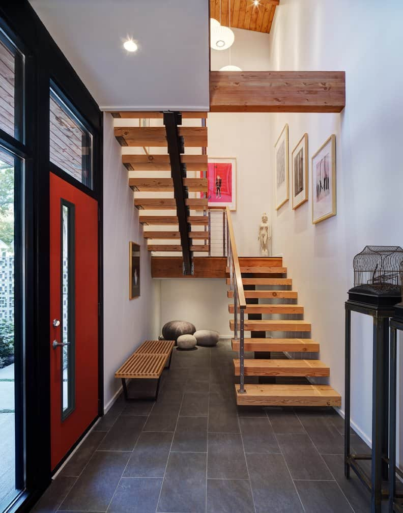 Foyer Modern Minimalis : Half century rancher renovated into large modern story home