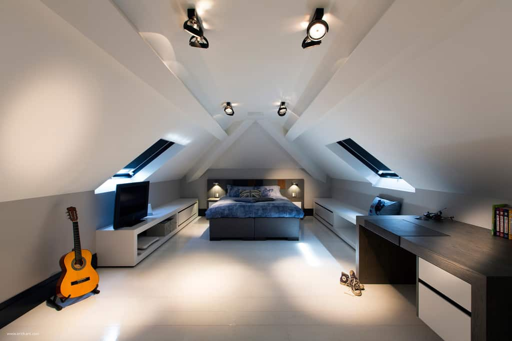 contemporary attic bedroom ideas - Custom Details Create a Visual Feast in Minimalist Home