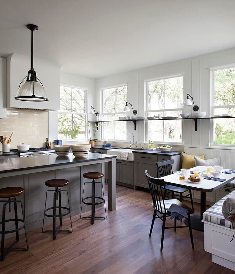 Kitchen Cabinets Island Shelves Cabinetry White Walnut Stone Modern Traditional Rustic Farmhouse: Modern Farmhouse Incorporates Traditional Details For Eclectic Lifestyle