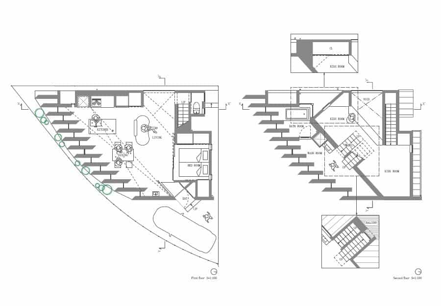 View In Gallery Triangular House One Room Mezzanines 7 Floorplan