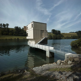 Dock Connects Lake Building to Shore in Switzerland
