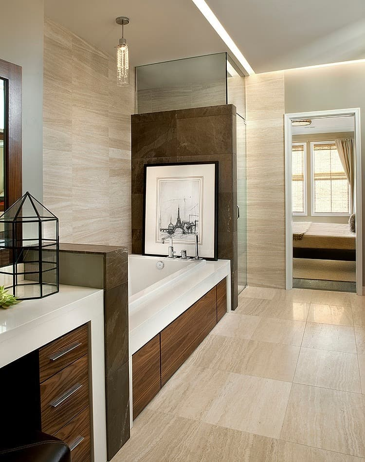 View In Gallery Modern Traditional Home Design  Unusualarchitectural Elements 12 Ensuite.