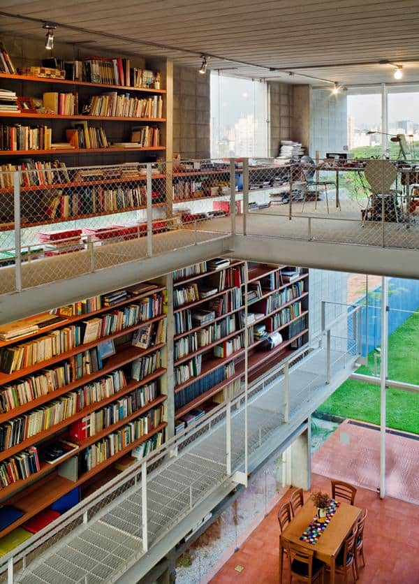 3 storey wall books creates privacy contemporary home%20 1 library 3 Storey Wall of Books Creates Privacy for Contemporary Home