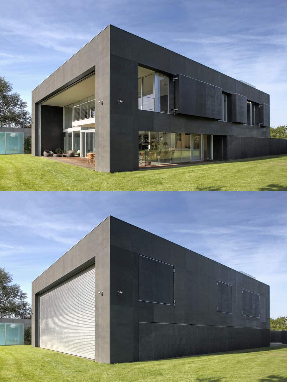 Safe house amazing home closes into solid concrete cube for Precast concrete home plans