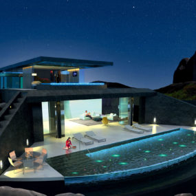 Home with Infinity Pool and Glass Bottomed Pool Rendered in 3D