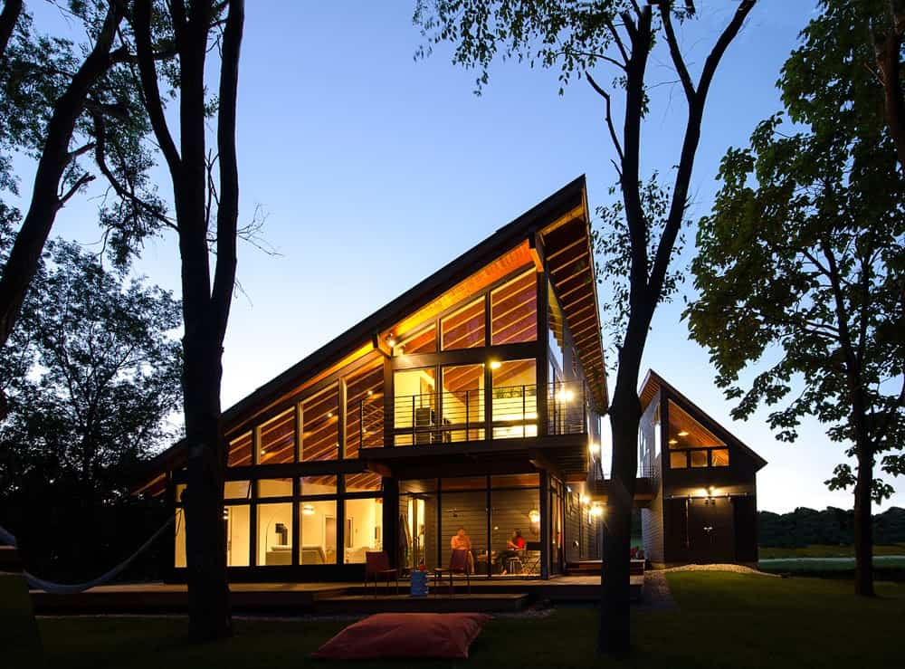 Cool lake home designed to enjoy the views and create art for Home plans with a view
