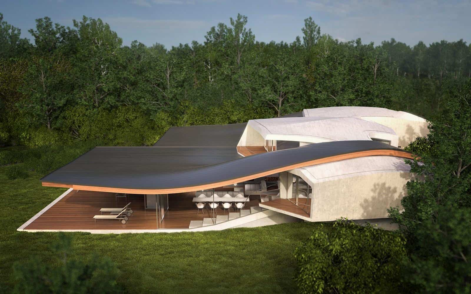 Futuristic vacation home opens up to outdoors for Creative home plans