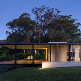 Romantic Guest House Cantilevers Spa over Lilly Pond