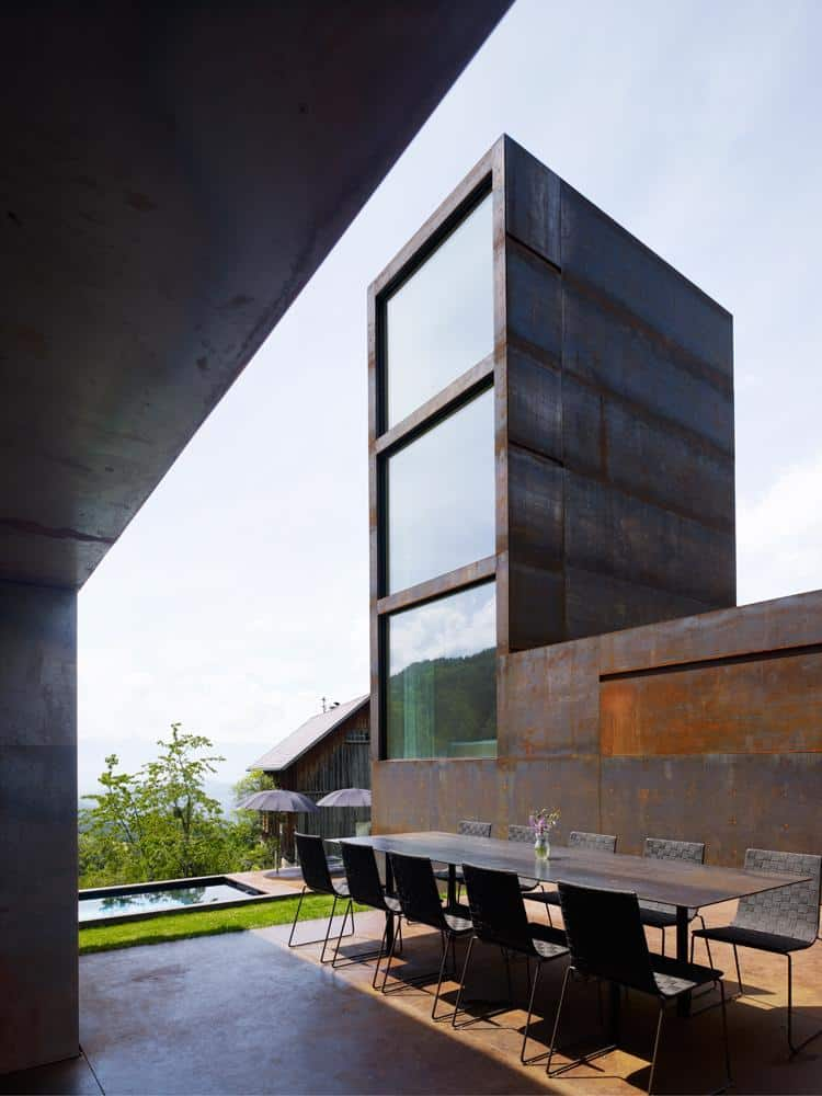 View In Gallery Oxidized Steel Bedroom Tower Presides House Pool 1 Tower  Thumb Autox840 45972 Marte Marte Builds Steel