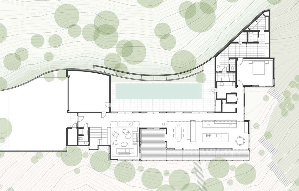 Living roof on slope house merges beautifully with for Slope home plans