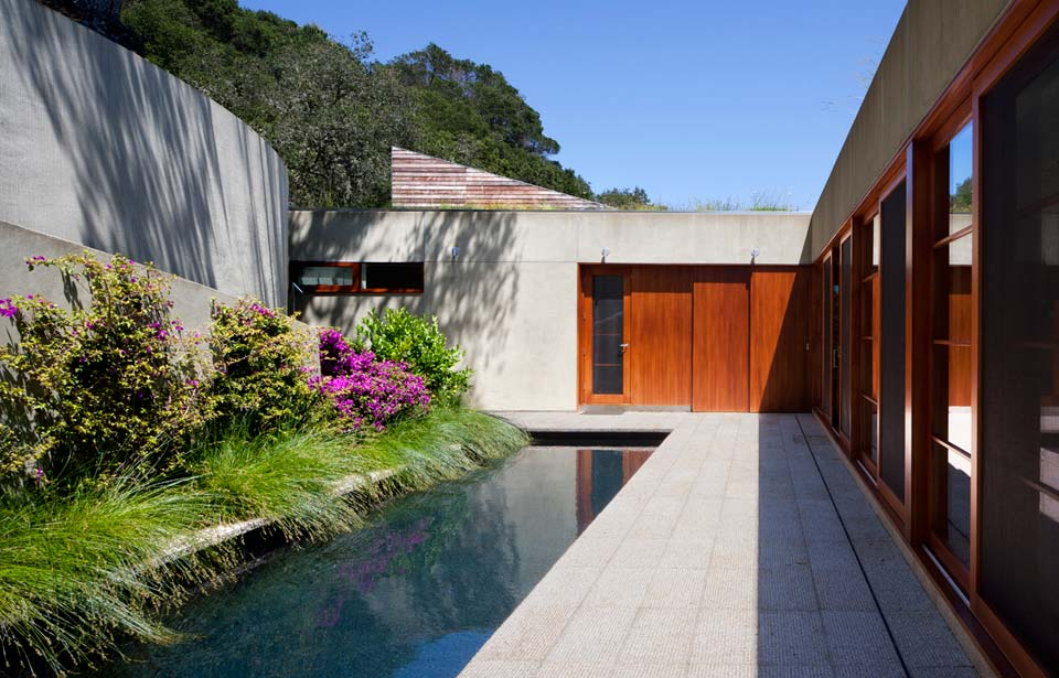 Living roof on slope house merges beautifully with for Pool design hillside
