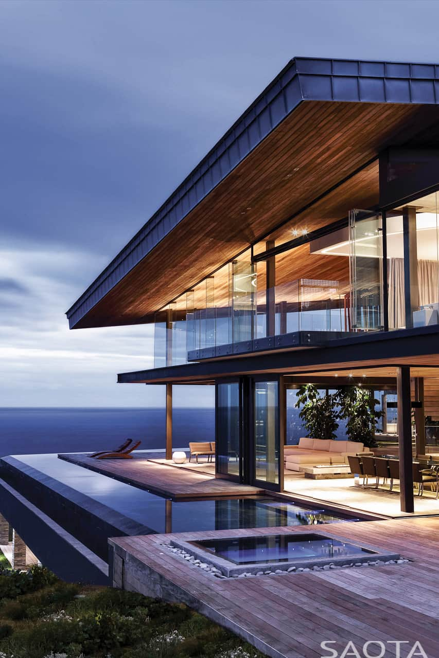 Gorgeous Ocean House with Perimeter Overflow Pool | Modern ... on Glass House Design Ideas  id=21334
