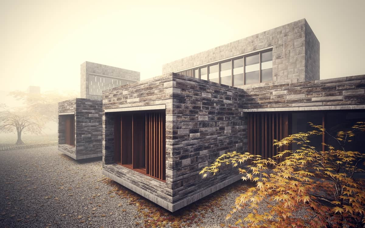 Stonework house design with bamboo growing inside for Minimalist house materials