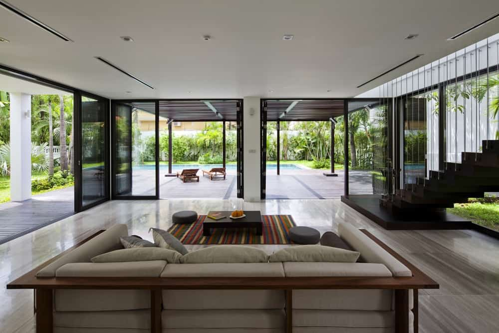 Open Plan House thao dien house: open plan with living walls