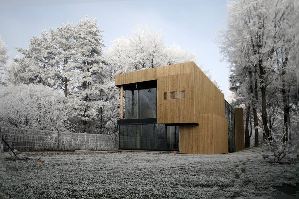Energy Efficient Forest Home Has Suspended Net Lounge